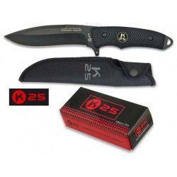 Cuchillo Tactico K25 negro. Hoja: 13cm