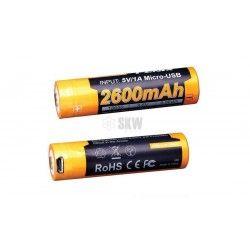 PILA RECARGABLE MINI USB 18650 3.6V 2600 MAH FENIX