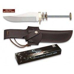 Cuchillo espiga. Total 24.3 cm. C/Funda
